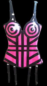 Hot Pink Blonde Ambition Latex Corset