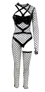 The Black Strapped Lasercut Fishnet Latex Look