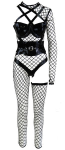 The Black Strapped Lasercut Fishnet Latex Look With Heavy Rubber Corset Waist Trainer
