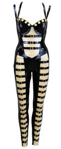 Black & Transparent Latex Gold Strap Jumpsuit