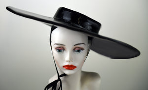 Black Latex Wide Brim Hat