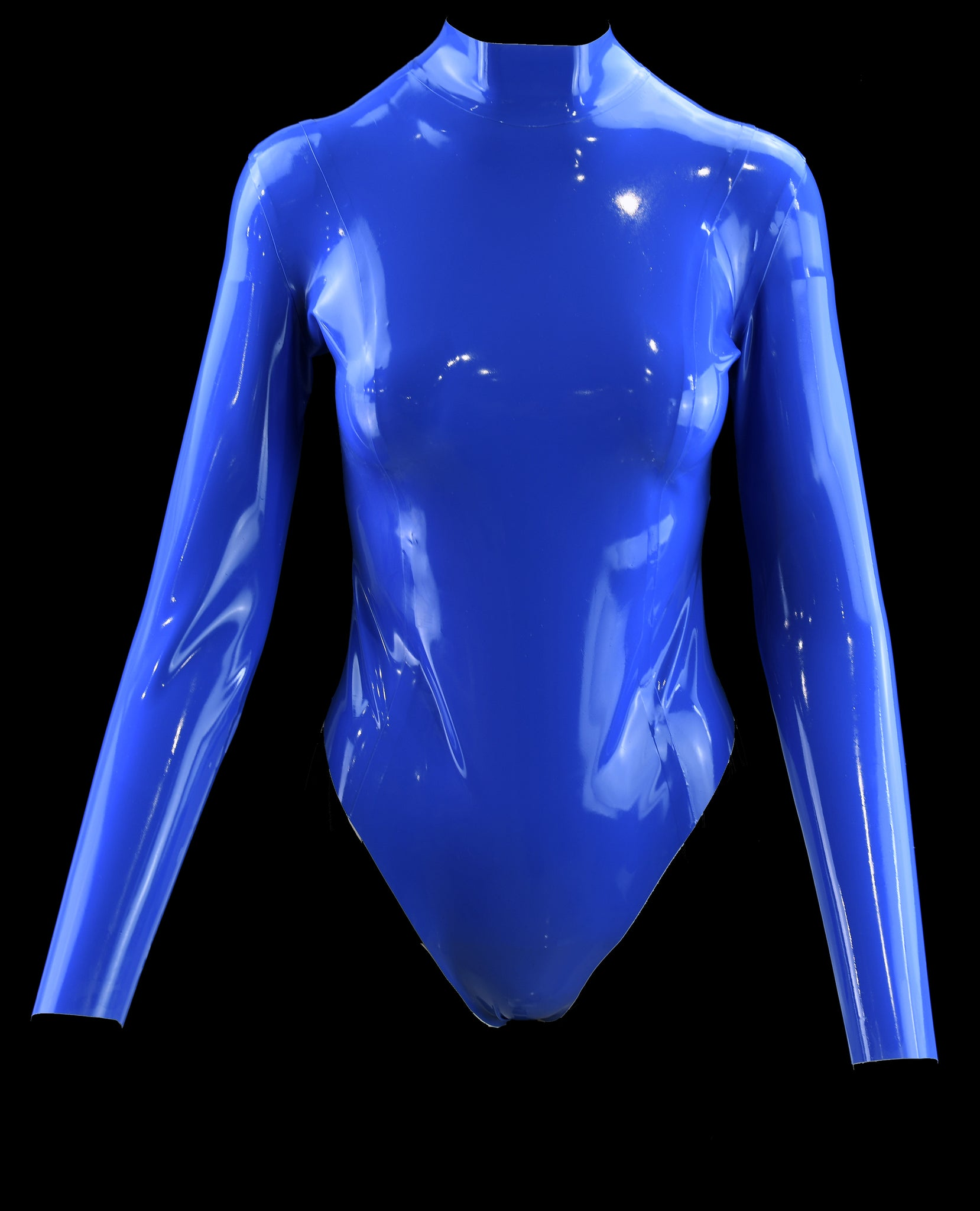 Blue Long Sleeve Latex Bodysuit