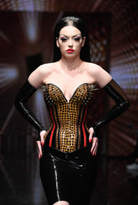 Fingerless Latex Opera Length Gloves with Transparent Detailing