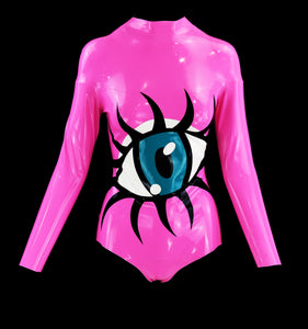 Bubblegum Pink Long Sleeve Eyeball Latex Bodysuit