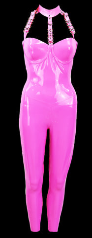 Bubblegum Pink Neck Cage Latex Jumpsuit