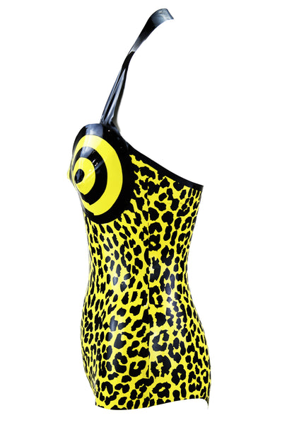 Bulls Eye Leopard Print Latex Bodysuit