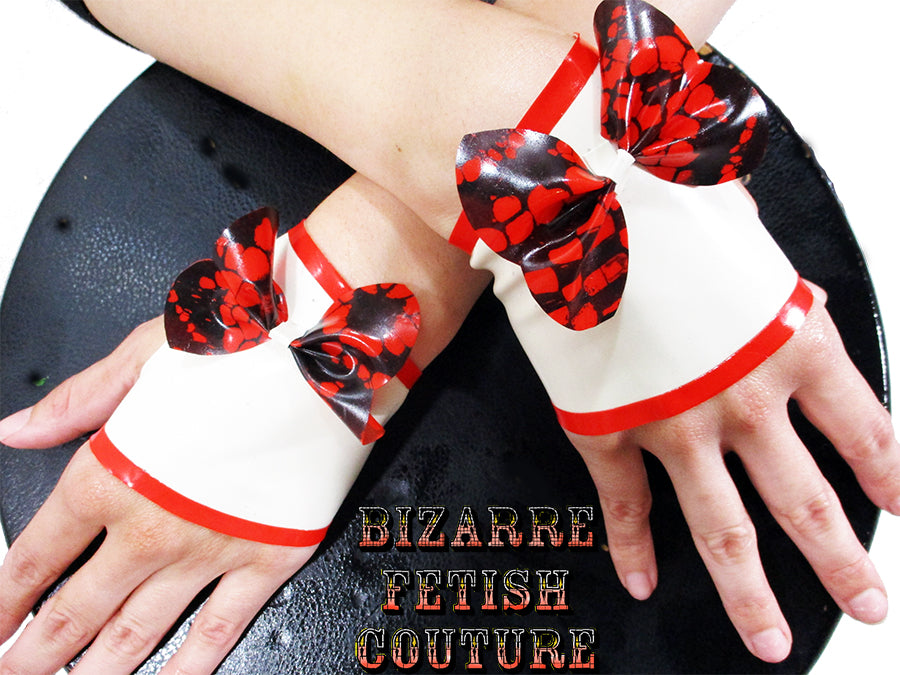 Candy Cane Lace Print Latex Fingerless Gloves - BIZARRE FETISH COUTURE