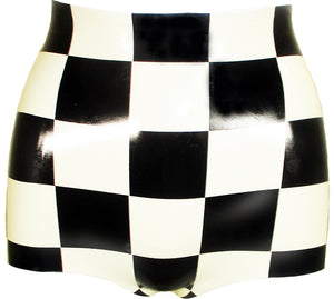 The Latex Checkerboard High Waisted Booty Shorts