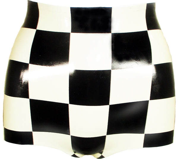 Checkerboard Latex High Waisted Booty Shorts