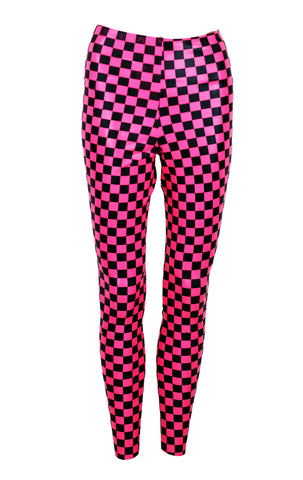Neon Checkerboard Print Latex Leggings