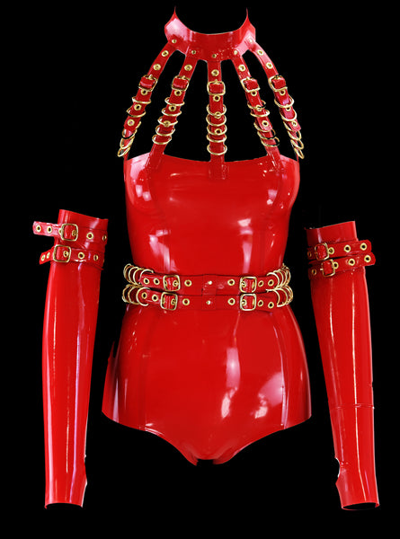Cherry Red & Gold 5 Cage Restricted Latex Bodysuit, Belt & Gloves