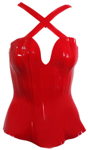 The Cherry Red X Latex Corset