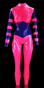 Cheshire Latex Catsuit & Purple Heavy Rubber Latex Underbust Vamp Corset