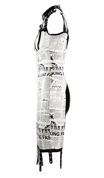 Convertible Latex Newspaper Print Restricted Gown