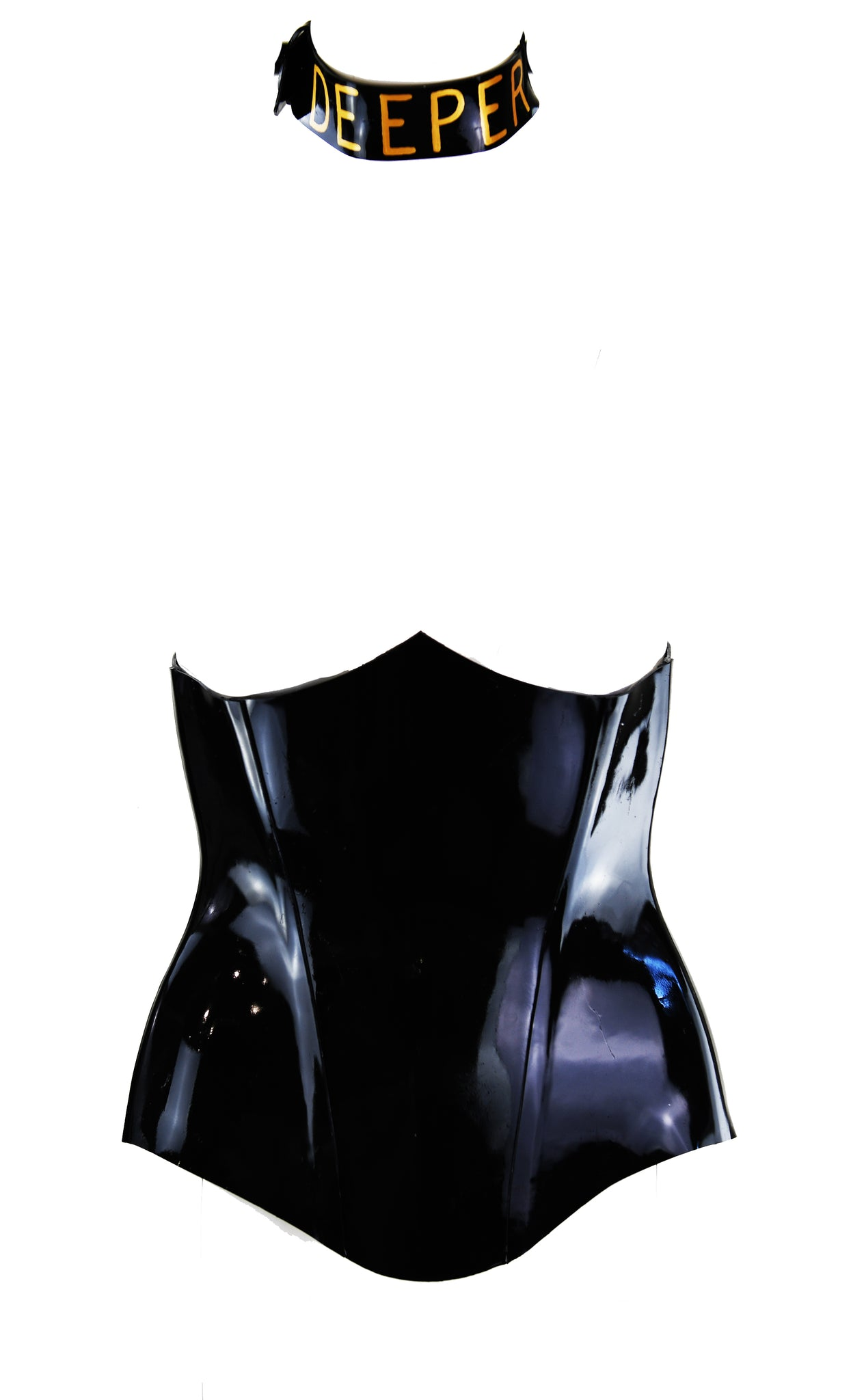 Gold Deeper Heavy Rubber Latex Collar & Black Heavy Rubber Latex Underbust Vamp Corset