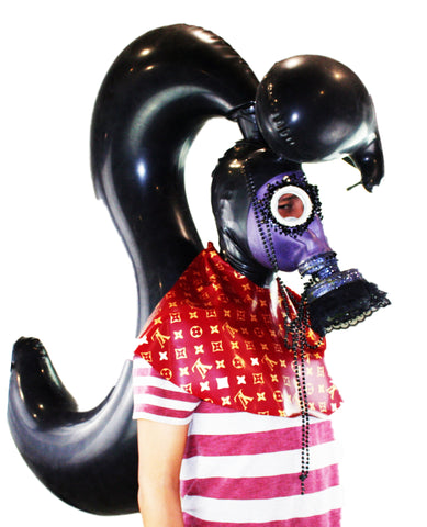 Black Single Ponytail w/ Bang Inflatable Latex Wig