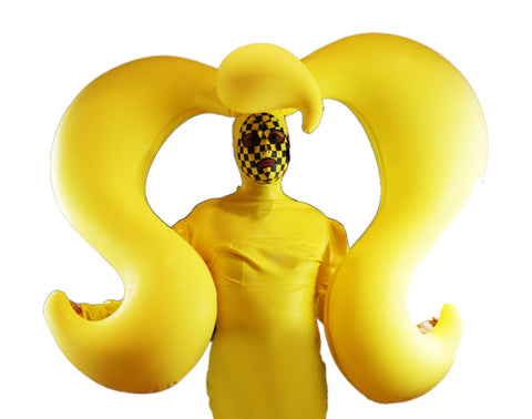 Yellow Double Pig Tail Single Bang Latex Inflatable Wig