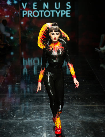 Disco Fire Flame Latex Leisure Catsuit