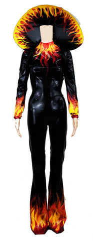 Disco Fire Flame Latex Leisure Outfit