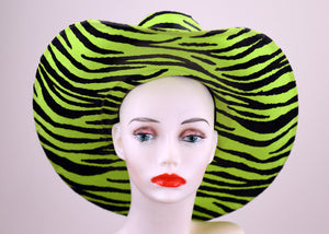 Lime Green zebra Latex Cowboy Hat