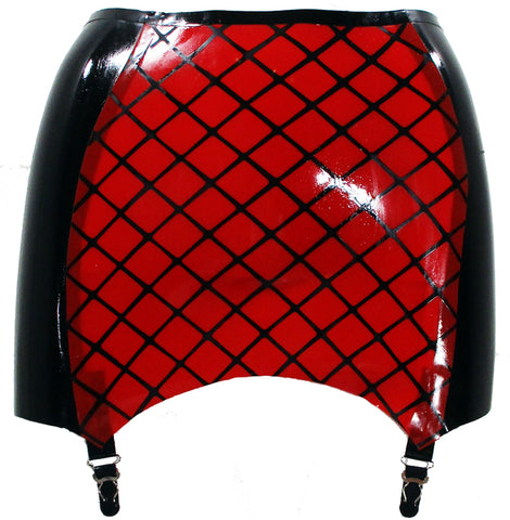 Red Fishnet Print Latex Mini Skirt w/ Garters - BIZARRE FETISH COUTURE