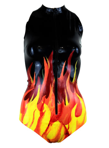 Fire Flame Latex Bodysuit