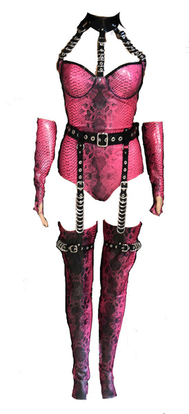 Metallic Fuchsia Restricted Crocodile Latex Bodysuit , Garter Belt, Stockings & Gloves