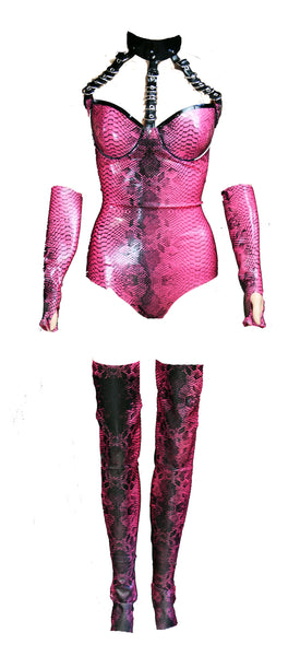 Metallic Fuchsia Restricted Crocodile Latex Bodysuit , Stockings & Gloves