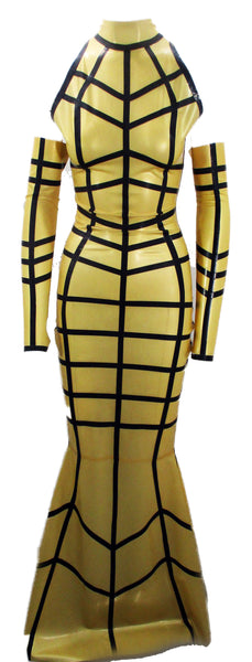 The Latex Gold Cage Gown