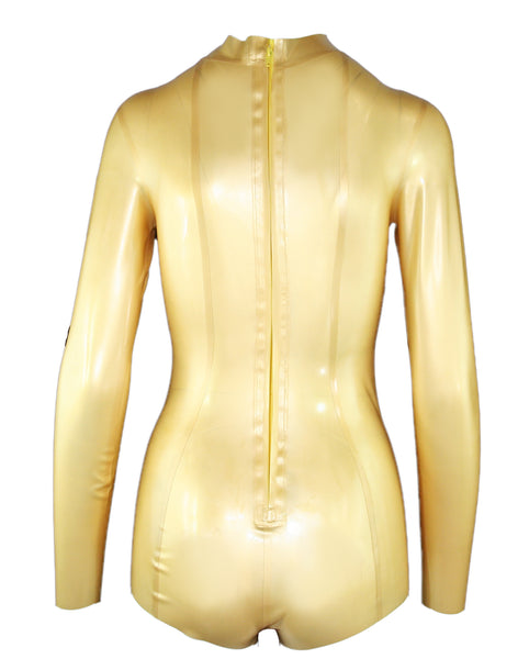Metallic Long Sleeve Latex Bodysuit