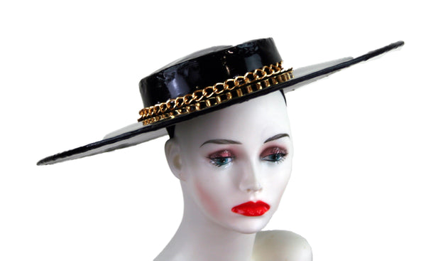 Gold Chain Wide Brim Hat