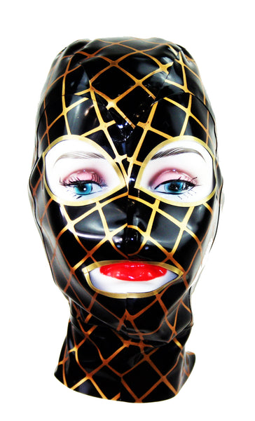Gold Fishnet Latex Face Mask