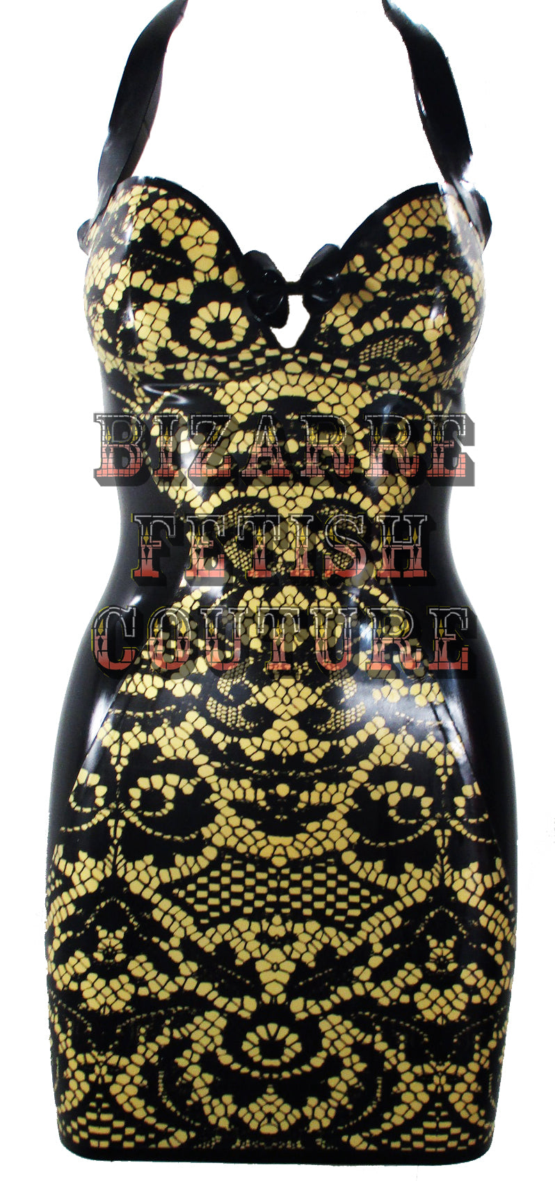 Gold Lace Print Latex Mini Halter Dress - BIZARRE FETISH COUTURE