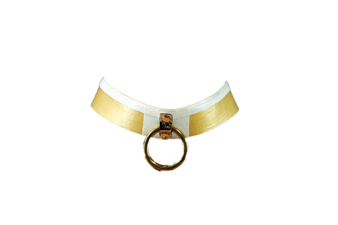 Gold & White O Ring Latex Collar