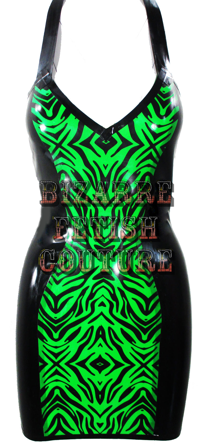 Vibrant Green Zebra Print Mini Halter Dress - BIZARRE FETISH COUTURE