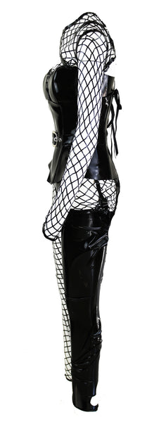 The Black Harley Lasercut Fishnet Look With Black Heavy V Latex Underbust Corset