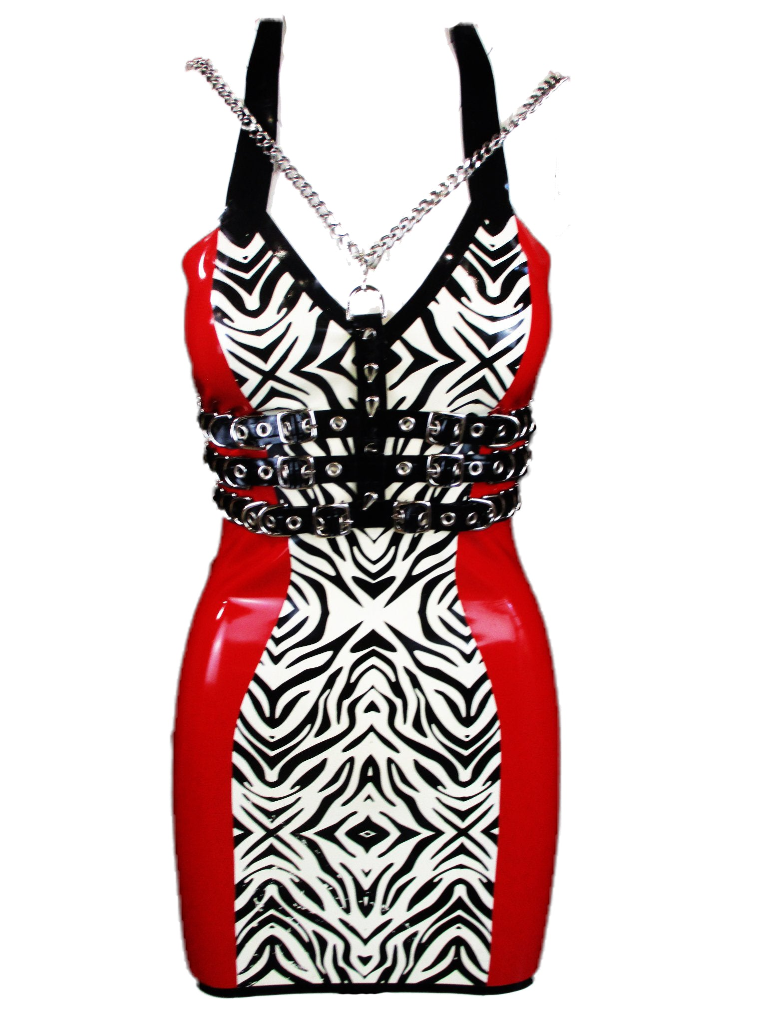Poison Roza Harness on Zebra Print Latex Mini Dress