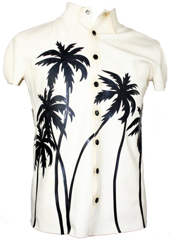 Mens Hawaiian Button Down Latex Short Sleeve Shirt
