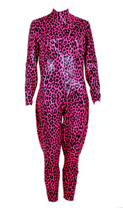 Hot Pink Leopard Print Latex Catsuit