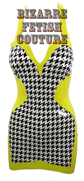 Houndstooth Print Latex Halter Mini Dress - BIZARRE FETISH COUTURE