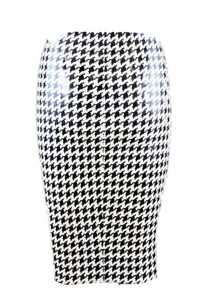 Hounds Tooth Latex Pencil Skirt