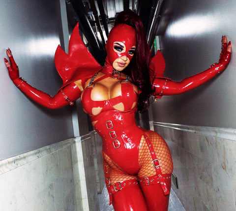 Red Latex Demoness X Bra
