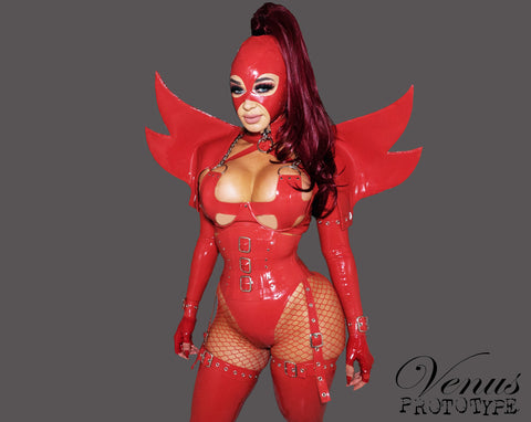 Red Latex Demoness Corset w/ Garter Straps