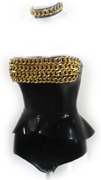 The Gold Chain IMMORTAL Latex Peplum Corset