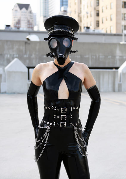 Black Latex Demoness Heavy Rubber Chain Corset