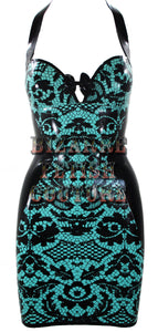 Jade Green Lace Print Latex Mini Halter Dress - BIZARRE FETISH COUTURE