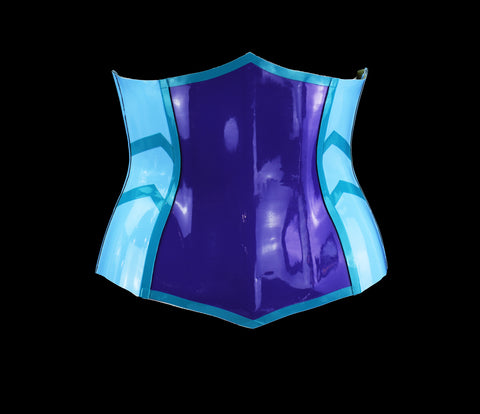 Baby Blue & Violet Underbust Heavy Rubber Latex Corset