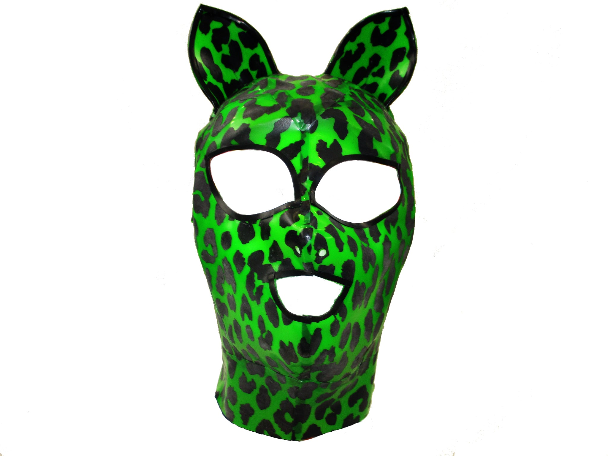 Kelly Green Leopard Print Latex Kitty Face Mask
