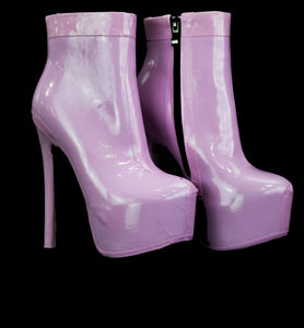 Lavendar Latex Ankle Boots