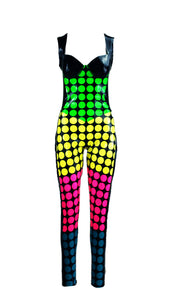 Multi Color Lego Print Sleeveless Latex Catsuit